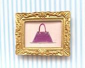 Handbag. Designer Pink Bag  miniature dollhouse painting