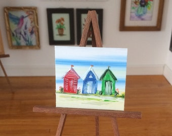 Beach Huts with flags Dolls House Painting Original Unique Art in Miniature for your Dollhouse  beach huts painting