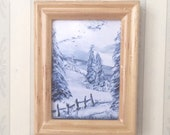 Dollhouse miniature framed snow landscape painting Miniature  DollHouse Picture Original Art In Wax