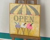 Miniature Open ice cream parlour   sign plaque style Dolls House Original