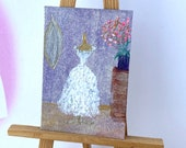 Miniature Wedding bride Gown Dressing room  Dollshouse Painting Original Miniature Art