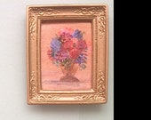 Miniature Dolls House Painting Dollhouse Art 1:12th framed flowers picture