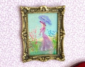 Lady in the garden vintage style Framed Dollhouse Painting Original Miniature Art Dolls House Picture Artist Hazel Rayfield