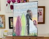 Surfs Up wedding on the beach Miniature  Painting Dollhouse Art 1:12th