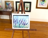 Dolls house Lavender Field  1:24 Miniature Original Painting