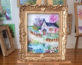 Cottage Landscape Dolls house Collectible Miniature Art framed