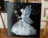 Fairy Godmother dollhouse miniature painting. Wallart fairy miniature