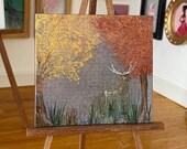 Miniature stag autumn landscape painting