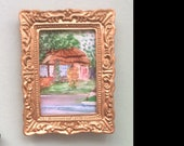 Norfolk Cottage Miniature Landscape Winter framed painting Dolls House Painting Dollhouse Art 1:12th picture