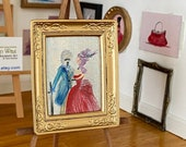 Miniature dollhouse portrait painting. The lord and his mistress period style