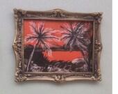 Sunset palm Miniature  Painting  Dolls House Original Art Collectible