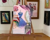 Miniature Sewing and Dressing room  House Painting Original Miniature Art