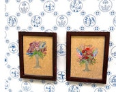 Framed Miniature Flowers Dolls House  1:24 or 1 12th scale Paintings Dollhouse