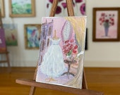 Wedding Gown Dressing Room Dolls House Painting Original Miniature Art
