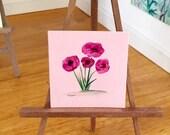 Miniature Painting | Pink Poppy flower  | Dollhouse Miniature | original Contemporary Art | Dolls House Painting