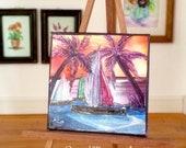 Miniature Painting | sunset sailing seascape | Dollhouse Miniature | original Contemporary Art | Dolls House Painting