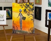 Dolls House African sunset, Landscape art shown here in my 1:12 art gallery