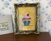 DollHouse painting framed cupcake 1:12th Scale Dolls House, miniature original art