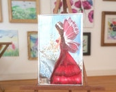Ruby  Fairy miniature Painting Original Art Collectible OOAK