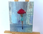 Miniature Painting Dollhouse Miniature girl with the red umbrella Contemporary Art | Dolls House Painting