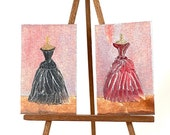 Miniature  Glamour Picture Mannequin dresses Set of 2 paintings Dolls House