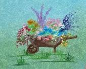 Dolls House Art. Garden Wheelbarrow original OOAK painting