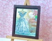 1: 24th dollhouse original art painting lilac gown dressing room