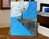 Dolls House moonlight  tree on the ridge Landscape,  Miniature Art Dolls House Picture