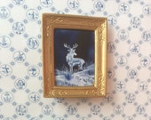 Miniature Stag Landscape Winter framed painting Dolls House Painting Dollhouse Art 1:12th picture