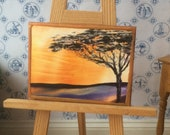 Dolls house Sunset Landscape Tree  Painting Miniature Dolls House Picture Original Art In Wax