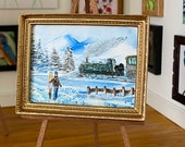 Miniature Art  Framed Stream Train Winter Landscape Painting.