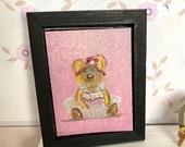 Dolls house painting pink teddy bear ballerina