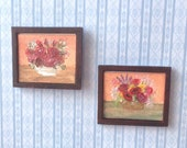 Classic Flower Art Framed Paintings set of two 1 24 Scale or 1:12th Original Art