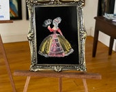 Dollhouse painting Lady Mia Period style original art 1:12th scale.