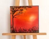 Miniature Painting | sunset landscape | Dollhouse Miniature | original Contemporary Art | Dolls House Painting