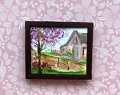 Picture 1:24 or 1 12th scale Painting Dollhouse cherry Tree cottage