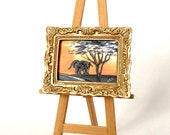 Miniature Africa Elephant Sunset painting Dolls House Painting Dollhouse Art 1:12th picture