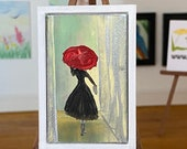 Miniature  Art Dollhouse Painting, Lady with the red umbrella framed Picture