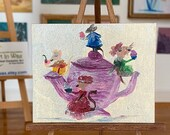 Dollhouse mouse painting tea pot mice miniature original art