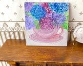 Dolls house modern miniature painting hydrangea tea cup