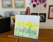 Spring Flowers Landscape Miniature Painting DollHouse  Picture Original Art In Wax