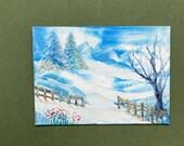 Winter landscape  dollhouse miniature painting