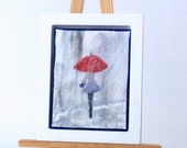 Miniature Painting Original Art girl in the rain Red Umbrella