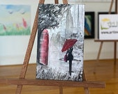 Modern miniature dollhouse painting England  The Girl with the red umbrella walking in the rain
