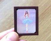 1:24 Dollhouse ballerina picture  Miniature Framed Original Painting