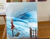 Dollhouse winter walk.  Miniature original Art painting