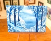 SOLD reserved for JP Miniature Winter Landscape collectible or Dolls House Miniature Painting Original Art for Dolls Houses and collectors