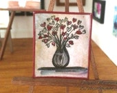 Miniature  hearts bouquet Vase abstract Painting 1 12th Scale Original Dolls House Picture