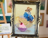 Miniature mouse Dolls House framed   mouse painting original art