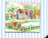 Pond Cottage  miniature dollhouse painting By Hazel Rayfield